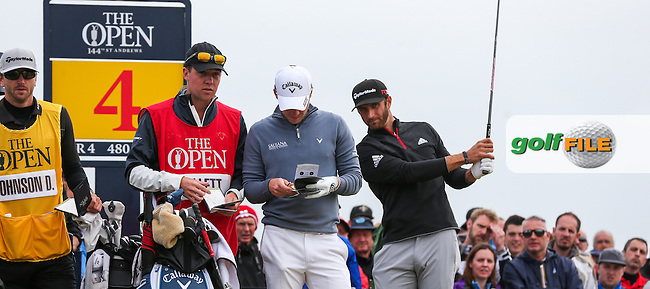 Danny Willett (ENG) &amp; Dustin Johnson (USA) on the 4th tee during Round Three (Sunday) at the 144th Open, played at the Old Course, St Andrews, Scotland. /19/07/2015/. Picture: Golffile | David Lloyd<br /> <br /> All photos usage must carry mandatory copyright credit (&copy; Golffile | David Lloyd)