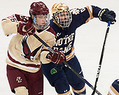 Julius Mattila (BC - 26), Tory Dello (Notre Dame - 6) - The Boston College Eagles defeated the University of Notre Dame Fighting Irish 6-4 (EN) on Saturday, January 28, 2017, at Kelley Rink in Conte Forum in Chestnut Hill, Massachusetts.The Boston College Eagles defeated the University of Notre Dame Fighting Irish 6-4 (EN) on Saturday, January 28, 2017, at Kelley Rink in Conte Forum in Chestnut Hill, Massachusetts.