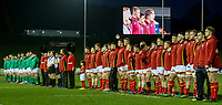 The teams line up for the anthems<br /> <br /> Photographer Alex Dodd/CameraSport<br /> <br /> RBS Six Nations U20 Championship Round 4 - Wales U20s v Ireland U20s - Saturday 11th March 2017 - Parc Eirias, Colwyn Bay, North Wales<br /> <br /> World Copyright &copy; 2017 CameraSport. All rights reserved. 43 Linden Ave. Countesthorpe. Leicester. England. LE8 5PG - Tel: +44 (0) 116 277 4147 - admin@camerasport.com - www.camerasport.com