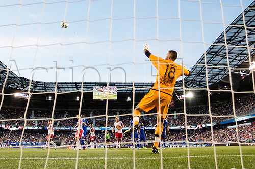 22.07.2015. Harrison, NJ, USA. New York Red Bulls goalkeeper Kyle Reynish with a save during the International Champions Cup featuring the New York Red Bulls versus the Chelsea Football Club at Red Bull Arena in Harrison, NJ.