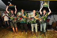 ZEILSPORT: LEMMER: 26-08-2017, IFKS Sk&ucirc;tsjesilen huldiging, <br /> v.l.nr. a klasse klein Pieter Jilles Tjoelker ( Engelina Smeltekop) - C klasse Gerrit Huisman (sk&ucirc;tsje Ut 'e strijd) - B klasse Fonger Talsma (sk&ucirc;tsje Jonge Jan) - A klasse Merijn Olsthoorn ( sk&ucirc;tsje Emanuel), &copy;foto Martin de Jong