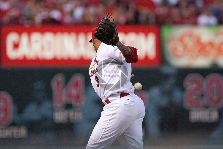 July 1, 2010        St. Louis Cardinals shortstop Felipe Lopez (3) drops a pop fly in foul territory hit by Milwaukee Brewers starting pitcher Randy Wolf (43) in the fifth inning, who continued batting.  The Milwaukee Brewers defeated the St. Louis Cardinals 4-1 in the first game of a four-game homestand at Busch Stadium in downtown St. Louis, MO on Thursday July 1, 2010.