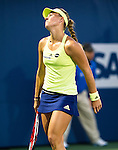Angelique Kerber (GER) during her quarterfinal match against Agnieszka Radwanska (POL) at the Bank of the West Classic in Stanford, CA on August 7, 2015. Kerber moved onto the semis after beating Radwanska 46 64 64