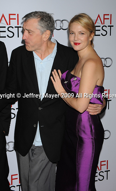 "HOLLYWOOD, CA. - November 03: Robert De Niro and Drew Barrymore arrive at the AFI FEST 2009 Screening Of Miramax's ""Everbody's Fine"" on November 3, 2009 in Hollywood, California."