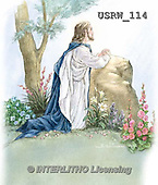 Randy, EASTER RELIGIOUS, OSTERN RELIGIÖS, PASCUA RELIGIOSA, paintings+++++Jesus-Praying-Gethsemene-watercolor,USRW114,#ER#