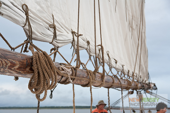 Ropes, rigging, and canvas sail detail on the Historic Tall Ship, A.J. Meerwald, New Jersey
