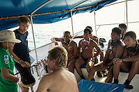 February 18, 2013 - Koh Rong (Sihanoukville). Divers are briefed before the first diving in open sea. © Thomas Cristofoletti / Ruom