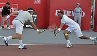 BOGOTA -COLOMBIA. 22-07-2015.  Alejandro Falla (COL) y Alejandro Gomez (COL) durante juego de dobles contra Mate Pavic (CRO) y Michael Venus (NZL) de primera ronda del ATP Claro Open Colombia 2015 jugado en el Centro de Alto Rendimiento en Bogota./ Alejandro Falla (COL) and Alejandro Gomez (COL) during doubles match against Mate Pavic (CRO) and Michael Venus (NZL) for the first round of ATP Claro Open Colombia 2015 played at Centro de Alto Rendimiento in Bogota city. Photo: VizzorImage/ Gabriel Aponte / Staff