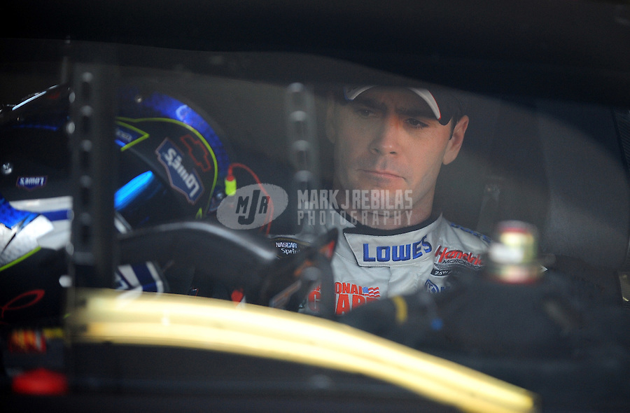 Nov. 21, 2009; Homestead, FL, USA; NASCAR Sprint Cup Series driver Jimmie Johnson during practice for the Ford 400 at Homestead Miami Speedway. Mandatory Credit: Mark J. Rebilas-