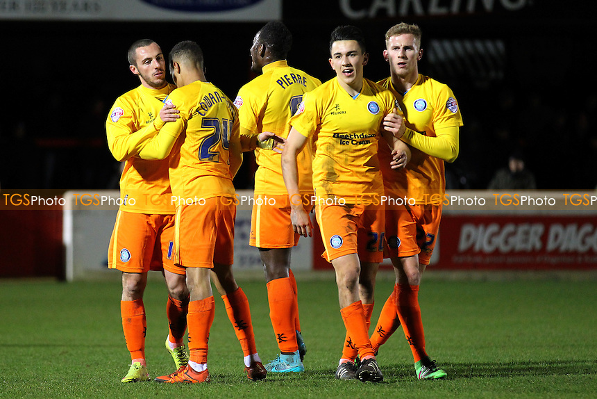 Wycombe celebrate their second goal scored by Paris Cowan-Hall during Dagenham and Redbridge vs Wycombe Wanderers, Sky Bet League 2 Football at the Chigwell Construction Stadium,