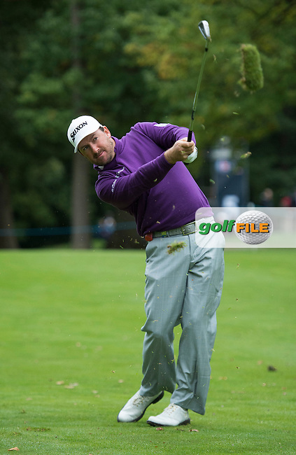 Graeme McDowell of Northern Ireland in action during a Pro-Am round ahead of the 2015 British Masters at the Marquess Course, Woburn, in Bedfordshire, England on 7/10/15.<br /> Picture: Richard Martin-Roberts | Golffile