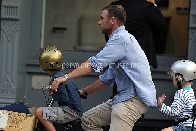 WWW.ACEPIXS.COM<br /> <br /> September 9 2013, New York City<br /> <br /> Actor Liev Schreiber takes his children Sasha and Sam home from school on September 9 2013 in New York City<br /> <br /> By Line: Philip Vaughan/ACE Pictures<br /> <br /> ACE Pictures, Inc.<br /> tel: 646 769 0430<br /> Email: info@acepixs.com<br /> www.acepixs.com