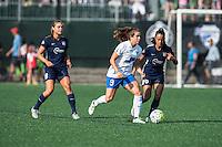 Allston, MA - Sunday July 17, 2016: Erica Skroski, Stephanie McCaffrey, Taylor Lytle during a regular season National Women's Soccer League (NWSL) match between the Boston Breakers and Sky Blue FC at Jordan Field.