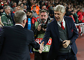 14th September 2017, Emirates Stadium, London, England; UEFA Europa League Group stage, Arsenal versus FC Cologne; Arsenal Manager Arsene Wenger and FC Koln Manager Peter Stoger shake hands before kick off