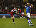 Adam Chambers of Walsall fouls Danny Lafferty of Sheffield Utd during the English League One match at Bramall Lane Stadium, Sheffield. Picture date: November 29th, 2016. Pic Simon Bellis/Sportimage
