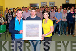 Retirement : Pictured at the retirement of Eamonn Fitzmaurice as a player for the Finugue GAA team on Sunday night last at the Finuge GAA clubhouse were Darraigh O'Ceinnede who presented Eammon with a painting of Banna Beach, Eamonn Fitzmaurice & Tina Fitzmaurice.