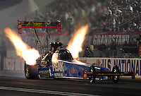Aug. 31, 2012; Claremont, IN, USA: NHRA top fuel dragster driver T.J. Zizzo during qualifying for the US Nationals at Lucas Oil Raceway. Mandatory Credit: Mark Rebilas-