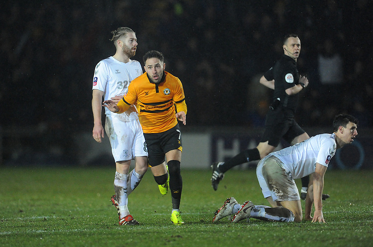 Newport County's Robbie Willmott celebrates scoring his side's first goal <br /> <br /> Photographer Ian Cook/CameraSport<br /> <br /> Emirates FA Cup Fourth Round Replay - Newport County v Middlesbrough - Tuesday 5th February 2019 - Rodney Parade - Newport<br />  <br /> World Copyright &copy; 2019 CameraSport. All rights reserved. 43 Linden Ave. Countesthorpe. Leicester. England. LE8 5PG - Tel: +44 (0) 116 277 4147 - admin@camerasport.com - www.camerasport.com