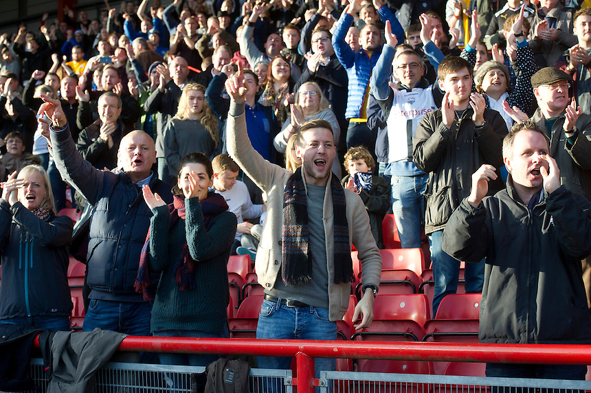Preston North End fans watch as their team win 1-0<br /> <br /> Photographer Stephen White/CameraSport<br /> <br /> Football - The Football League Sky Bet League One - Bristol City v Preston North End - Saturday 22nd November 2014 - Ashton Gate - Bristol <br /> <br /> &copy; CameraSport - 43 Linden Ave. Countesthorpe. Leicester. England. LE8 5PG - Tel: +44 (0) 116 277 4147 - admin@camerasport.com - www.camerasport.com