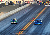 Jul 28, 2017; Sonoma, CA, USA; NHRA super gas driver Aaron Kinard (left) against Anthony Galati during qualifying for the Sonoma Nationals at Sonoma Raceway. Mandatory Credit: Mark J. Rebilas-USA TODAY Sports