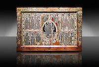 Romanesque painted altar front from the church of Saint Pau d'esterri de Cardos, Spain, Metal reliefs of Christ Pantocrator surrounded by the 12 Apostles.  National Art Museum of Catalonia, Barcelona 1919-23. Ref: MNAC 15970.