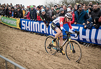 Lucinda Brand (NED/Telenet-Baloise Lions) over the bridge<br /> <br /> Women's Race<br /> UCI cyclocross WorldCup - Koksijde (Belgium)<br /> <br /> ©kramon
