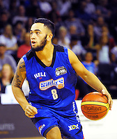 Izayah Mauriohooho-Le'afa in action during the national basketball league match between Wellington Saints and Canterbury Rams at TSB Bank Arena, Wellington, New Zealand on Monday, 6 April 2015. Photo: Dave Lintott / lintottphoto.co.nz