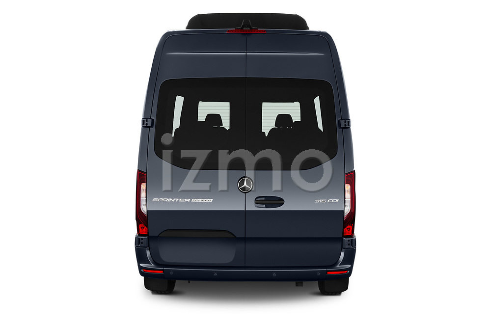 Straight rear view of 2019 Mercedes Benz Sprinter-Tourer Design-Line 4 Door Passanger Van Rear View  stock images