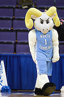 20 March 2010:  University of North Carolina mascot Ramses entertained the crowed during a timeout against Gonzaga. Gonzaga won 82-76 over the University of North Carolina in the first round of the NCAA Women's Basketball Tournament held at the Bank of America Arena in Seattle, WA.