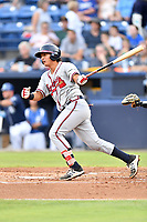 Rome Braves catcher Lucas Herbert (7) swings at a pitch during a game against the Asheville Tourists at McCormick Field on July 27, 2017 in Asheville, North Carolina. The Braves defeated the Tourists 6-3. (Tony Farlow/Four Seam Images)