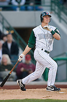 Blake Tekotte #9 of the Fort Wayne Tin Caps follows through on his swing versus the Dayton Dragons at Parkview Field April 16, 2009 in Fort Wayne, Indiana. (Photo by Brian Westerholt / Four Seam Images)