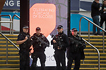© Joel Goodman - 07973 332324 . 02/10/2017. Manchester, UK. Armed police guarding the conference , at the start of the second day of the Conservative Party Conference at the Manchester Central Convention Centre . Photo credit : Joel Goodman