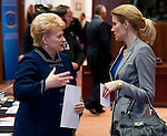 Brussels-Belgium - June 29, 2012 -- European Council, EU-summit meeting of Heads of State / Government; here, Dalia GRYBAUSKAITE (le), President of Lithuania, with Helle THORNING-SCHMIDT (ri), Prime Minister of Denmark -- Photo: © HorstWagner.eu