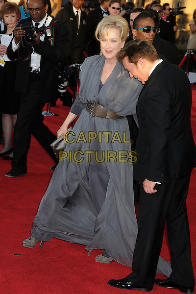 Meryl Streep.18th Annual Screen Actors Guild Awards held at The Shrine Auditorium, Los Angeles, California, USA..January 29th, 2012.SAG SAGS full length grey gray dress brown belt shoes walking .CAP/ADM/BP.©Byron Purvis/AdMedia/Capital Pictures.