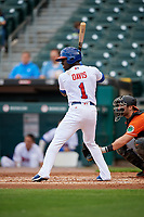 Buffalo Bisons Jonathan Davis (1) bats during an International League game against the Norfolk Tides on June 21, 2019 at Sahlen Field in Buffalo, New York.  Buffalo defeated Norfolk 2-1, the first game of a doubleheader.  (Mike Janes/Four Seam Images)