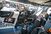 Feb 8, 2019; Pomona, CA, USA; Crew members for NHRA top fuel driver Antron Brown during qualifying for the Winternationals at Auto Club Raceway at Pomona. Mandatory Credit: Mark J. Rebilas-USA TODAY Sports