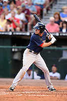 Pawtucket Red Sox second baseman Justin Henry (7) at bat during a game against the Buffalo Bisons on August 26, 2014 at Coca-Cola Field in Buffalo, New  York.  Pawtucket defeated Buffalo 9-3.  (Mike Janes/Four Seam Images)