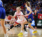 SIOUX FALLS, SD - MARCH 10: Monica Arens #11 of the South Dakota Coyotes drives to the basket against the South Dakota State Jackrabbits during the women's championship game at the 2020 Summit League Basketball Tournament in Sioux Falls, SD. (Photo by Dave Eggen/Inertia)