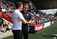 Fleetwood Town manager Joey Barton  and Wimbledon manager Neal Ardley <br /> <br /> Photographer Stephen White/CameraSport<br /> <br /> The EFL Sky Bet League One - Fleetwood Town v AFC Wimbledon - Saturday 4th August 2018 - Highbury Stadium - Fleetwood<br /> <br /> World Copyright &copy; 2018 CameraSport. All rights reserved. 43 Linden Ave. Countesthorpe. Leicester. England. LE8 5PG - Tel: +44 (0) 116 277 4147 - admin@camerasport.com - www.camerasport.com