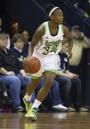 January 13, 2013:  Notre Dame guard Jewell Loyd (32) dribbles the ball during NCAA Basketball game action between the Notre Dame Fighting Irish and the Rutgers Scarlett Knights at Purcell Pavilion at the Joyce Center in South Bend, Indiana.  Notre Dame defeated Rutgers 71-46.
