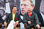 Mission Hills Vice Chairman Tenniel Chu (left) and tennis legend Boris Becker (right) share a laugh during the press conference for the opening of Boris Becker Tennis Academy at Mission Hills Resort on 19 March 2016, in Shenzhen, China. Photo by Lucas Schifres / Power Sport Images
