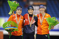 SCHAATSEN: HEERENVEEN: IJsstadion Thialf, 12-02-15, World Single Distances Speed Skating Championships, Podium 3000m Ladies, Ireen Wüst (NED), Martina Sábliková (CZE), Marije Joling (NED), ©foto Martin de Jong