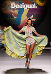 Brazilian model Alessandra Ambrosio presents creation of Desigual Spring-Summer 2014 collection during the Madrid Fashion Week in Madrid on September 11, 2014.  PHOTOCALL3000/ DP