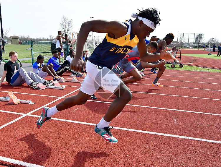 KeiJhuan James of O'Fallon takes off in the final heat of the 110 meter hurdles at the Norm Armstrong Boys Track and Field Invitational on Wednesday April 11, 2018. Photo by Tim Vizer
