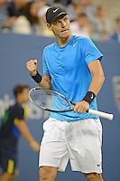 FLUSHING NY- SEPTEMBER 5: Tomas Berdych upset Roger Federer in four sets on Armstrong stadium at the USTA Billie Jean King National Tennis Center on September 5, 2012 in in Flushing Queens. Credit: mpi04/MediaPunch Inc. ***NO NY NEWSPAPERS*** /NortePhoto.com<br />