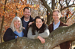 Newsday staff members who were involved in the Natural World Project- left to right- Bill Davis; Irene Virag; Bryn Nelson; Jennifer Smith; and Joe Haberstroh, gathered together in West Hills County Park in West Hills on Wednesday November 10, 2004. (Photo / Jim Peppler).