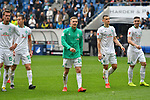 11.05.2019, PreZero Dual Arena, Sinsheim, GER, 1. FBL, TSG 1899 Hoffenheim vs. SV Werder Bremen, <br /> <br /> DFL REGULATIONS PROHIBIT ANY USE OF PHOTOGRAPHS AS IMAGE SEQUENCES AND/OR QUASI-VIDEO.<br /> <br /> im Bild: Freude bei Johannes Eggestein (SV Werder Bremen #24), Maximilian Eggestein (#35, SV Werder Bremen), Kevin M&ouml;hwald / Moehwald / Mohwald (SV Werder Bremen #6)<br /> <br /> Foto &copy; nordphoto / Fabisch