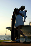 A silhouette of the 25- foot sculpture at the Mole Park in San Diego California commemorating the end of WW2. The original picture of the Sailor and Nurse  Kissing, was taken by Alfred Eisenstaedt of New York city.