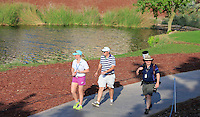 Kate Whyte, Alan Lowry and Fran Caffrey (Golffile) walking to the 18th tee during the preview for the DP World Tour Championship at the Earth course,  Jumeirah Golf Estates in Dubai, UAE,  18/11/2015.<br /> Picture: Golffile | Thos Caffrey<br /> <br /> All photo usage must carry mandatory copyright credit (© Golffile | Thos Caffrey)