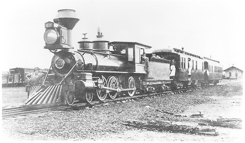 Engine #163 with business cars P &amp; N at Alamosa, CO.<br /> D&amp;RG  Alamosa, CO  Taken by Swamson, S. G. - 1886-1899